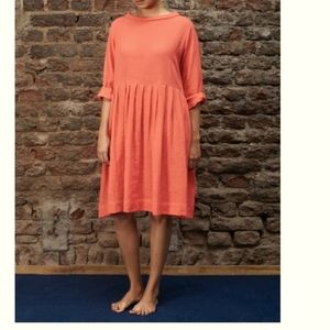 1X coral short sleeve dress zanzea